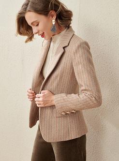 Notched Slim Long Sleeve Short Blazer