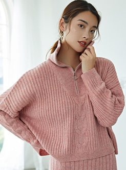 Mock Neck Solid Color Short Loose Sweater