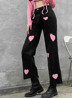 High Waisted Print Straight Denim Pants