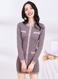 Crew Neck Striped Sheath Mini Knitted Dress