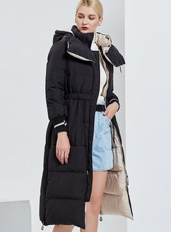 Black Hooded A Line Long Down Coat