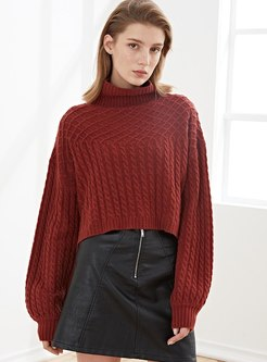 Turtleneck Pullover Loose Wool Sweater