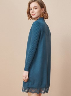 Long Sleeve Lace Patchwork Shift Sweater Dress