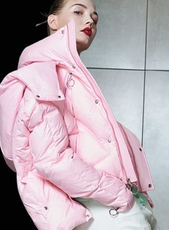 Hooded Asymmetric Short Down Coat