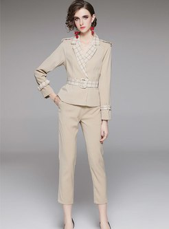 Plaid Patchwork Belted Work Pant Suits