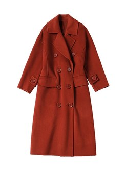 Lapel Double-breasted Shift Loose Peacoat