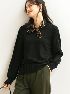 Lantern Sleeve Wool Blend Pullover Sweater