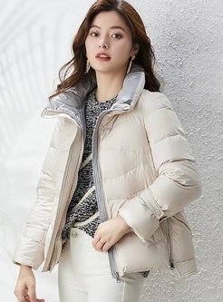Mock Neck Short Lightweight Puffer Coat