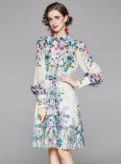 Retro Floral Belted Knee-length Skater Dress