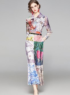 Turn Down Collar High Waisted Print Pant Suits