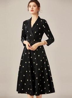 Black 3/4 Sleeve Print A Line Midi Dress