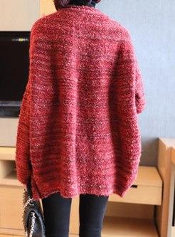 Crew Neck Straight Sweater Coat