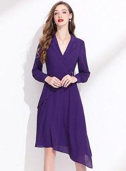 Notched Long Sleeve Asymmetric Skater Dress