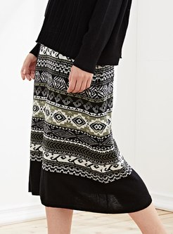 High Waisted Geometric Print Wool Skirt