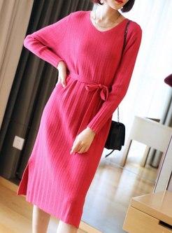 V-neck Long Sleeve Split Sweater Dress