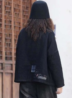 Plaid Patchwork Denim Loose Coat