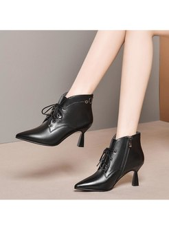 Pointed Toe Short Plush Ankle Boots