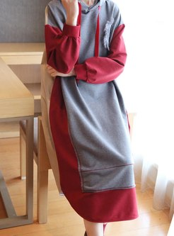 Hooded Patchwork Plus Size Shift Dress
