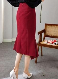 High Waisted Sheath Split Peplum Skirt
