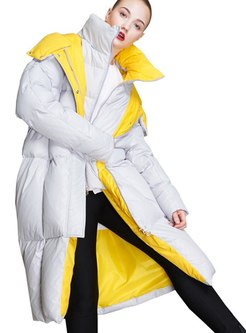 Color-blocked Hooded Long Down Coat