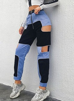 High Waisted Openwork Color-blocked Jeans