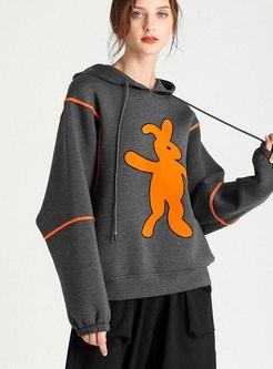Cartoon Print Drawstring Pullover Hoodie