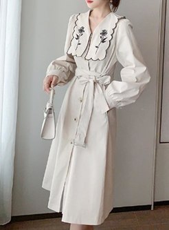 Long Sleeve Embroidered A Line Midi Dress