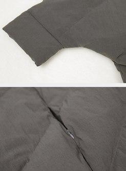Bat Sleeve Asymmetric Down Coat