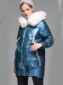 Fur Collar High Shine Letter Patchwork Down Coat