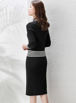 Color-blocked Bowknot Slim Sweater Skirt Suits