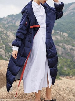 Hooded Drawstring A Line Duck Down Coat