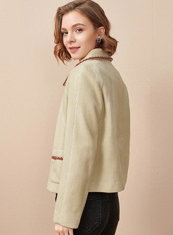 Color-blocked Single-breasted Short Coat