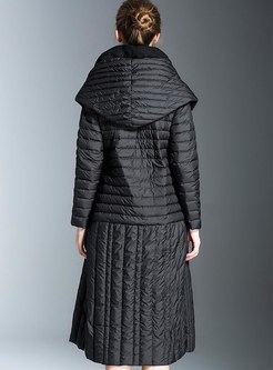 Hooded Patchwork Long Duck Down Coat