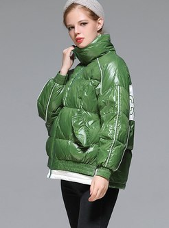 Mock Neck Letter Print Puffer Coat