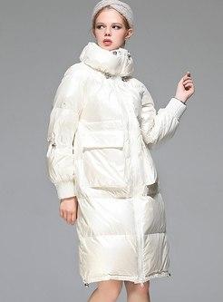 Long Sleeve Knee-length Loose Down Coat