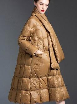 Mock Neck A Line Big Hem Down Coat