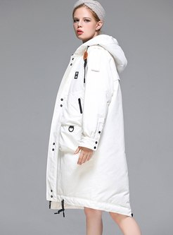Hooded Drawstring Knee-length Down Coat