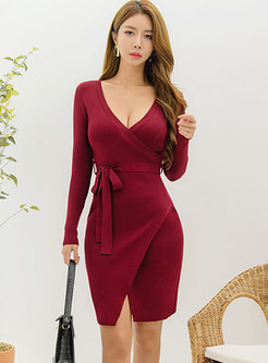 Sexy V-neck Bodycon Knitted Dress