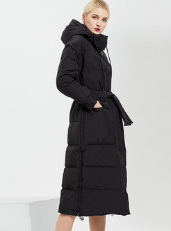 Hooded Removable Long Straight Puffer Coat