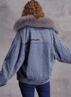 Turn Down Collar Denim Short Plush Coat