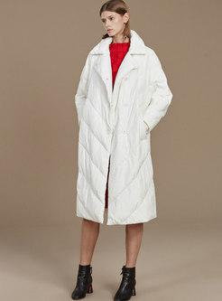White Lapel Long Straight Down Coat