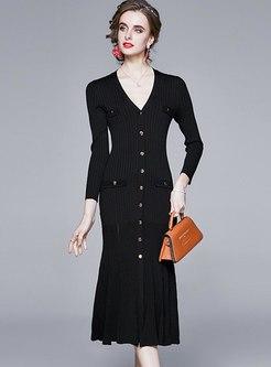 Long Sleeve Split Sweater Peplum Dress