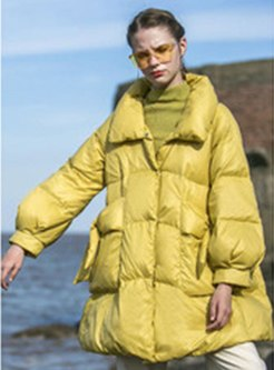Mock Neck Lantern Sleeve Loose Down Coat