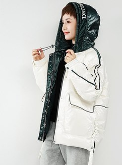 Hooded Letter High Shine Down Coat