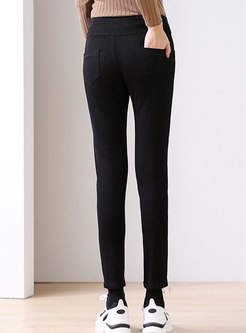 High Waisted Black Denim Skinny Pants