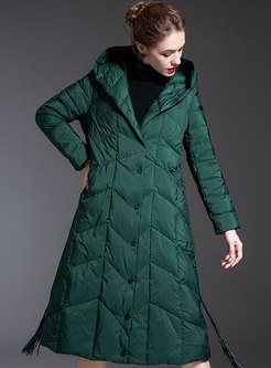 Single-breasted Fringed Long Down Coat