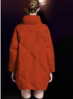 Mock Neck Plus Size Loose Down Coat