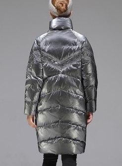 Polka Dot Sequin Knee-length Down Coat