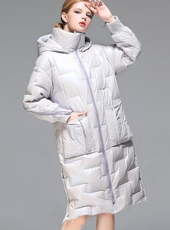 Pure Color Duck Down Coat With Pockets