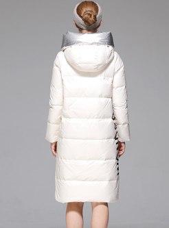 Hooded Knee-length Long Sleeve Puffer Coat